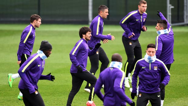 David Silva Manchester City v Barcelona Champions League