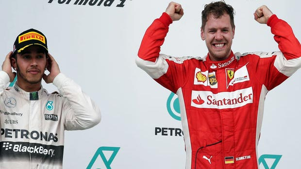 Ferrari Sebastian Vettel and Mercedes Lewis Hamilton Malaysian Grand Prix