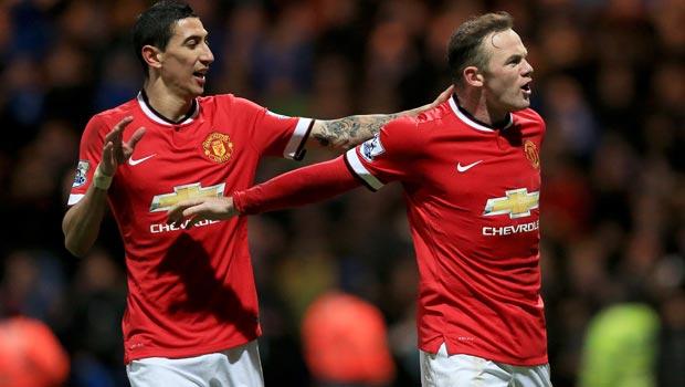Man United midfielder Angel Di Maria and Wayne Rooney