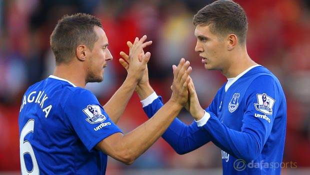 Everton Phil Jagielka and John Stones Premier League