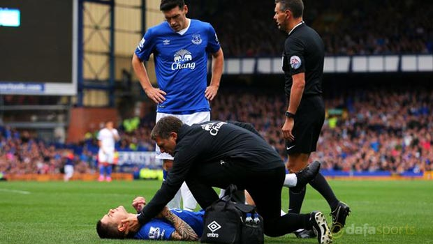 Everton duo Muhamed Besic and Seamus Coleman