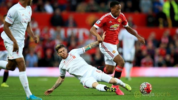 Man Utd Anthony Martial and Liverpool Alberto Moreno