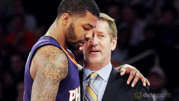 Phoenix Suns Head coach Jeff Hornacek and Markieff Morris
