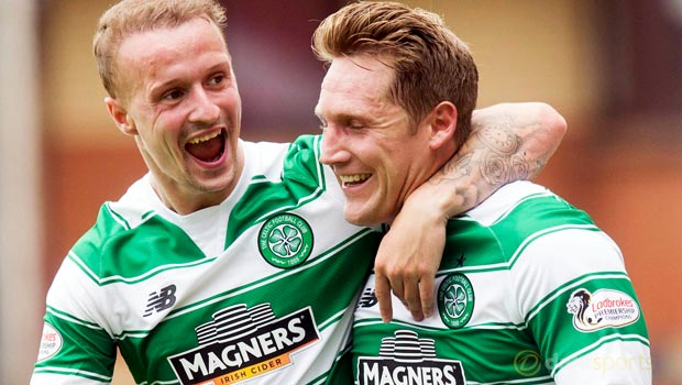 Celtic Kris Commons and Leigh Griffiths