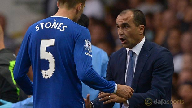 Everton boss Roberto Martinez and John Stones