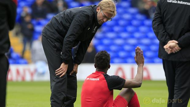 Liverpool manager Jurgen Klopp and Divock Origi