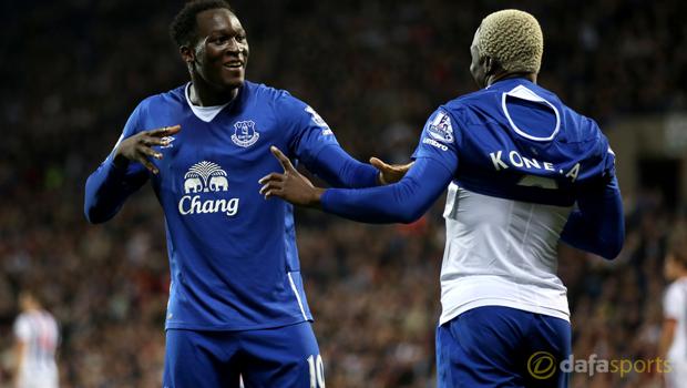 Everton Romelu Lukaku and Arouna Kone