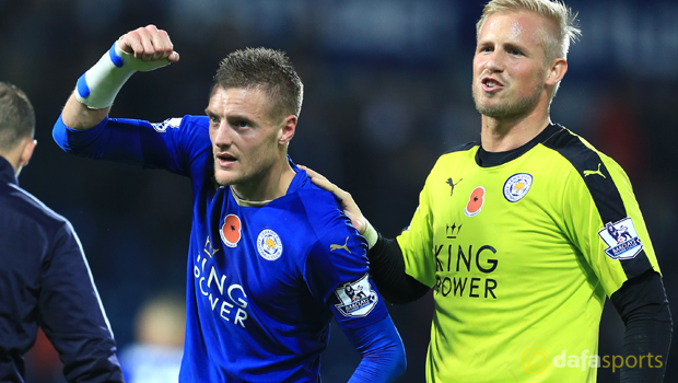 Leicester City Kasper Schmeichel and Jamie Vardy