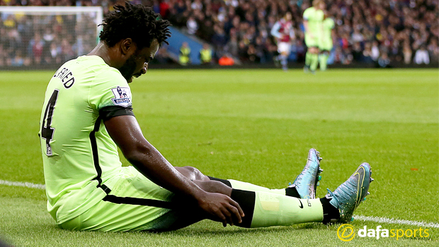 Manchester City Wilfried Bony sits injured