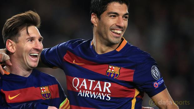 Barcelona Lionel Messi and Luis Suarez