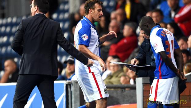 Blackburn Rovers boss Paul Lambert and Chris Brown