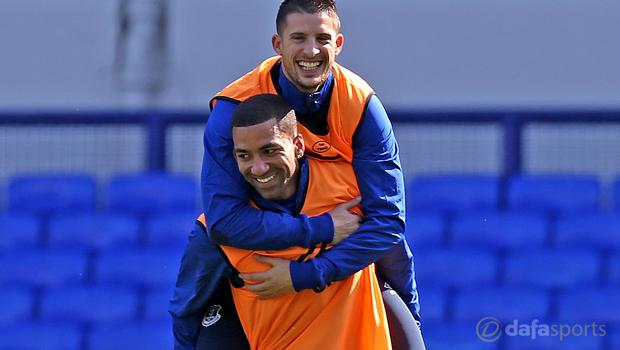 Everton Kevin Mirallas and Aaron Lennon
