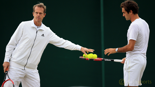 Roger Federer and coach Stefan Edberg Tennis