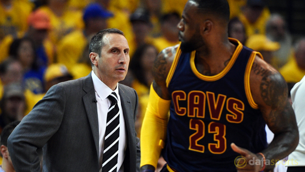 Cleveland Cavaliers coach David Blatt and LeBron James