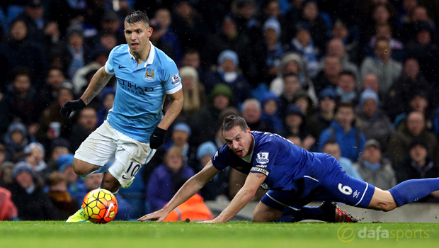 Everton Phil Jagielka and Sergio Aguero