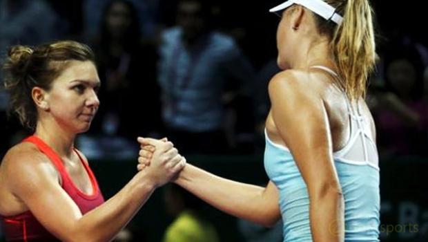 Maria Sharapova and Simona Halep Brisbane International
