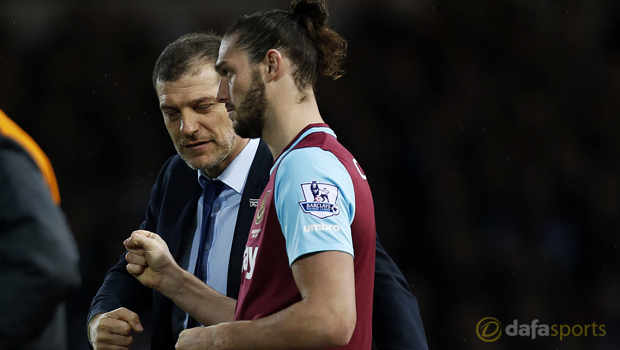 West Ham United manager Slaven Bilic and Andy Carroll
