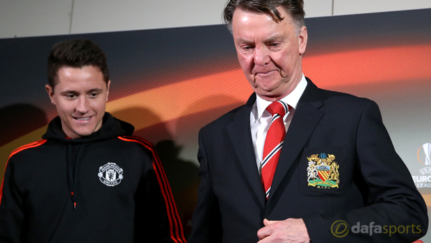 Manchester United manager Louis van Gaal and Ander Herrera