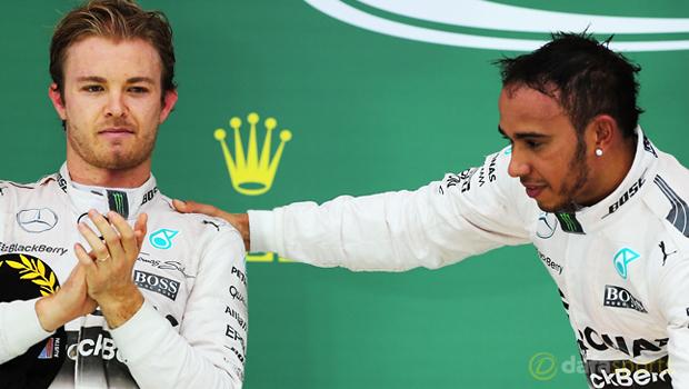 F1 Mercedes duo Lewis Hamilton and Nico Rosberg British Grand Prix