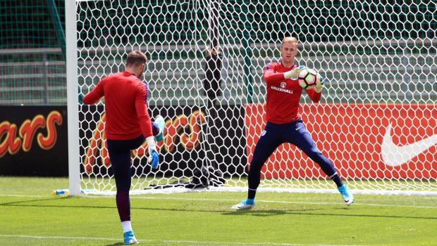 England's Jack Butland and Joe Hart - England Training