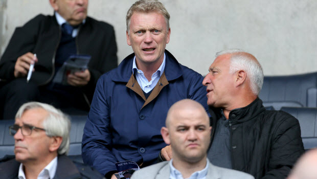 David Moyes watches the match from the stands